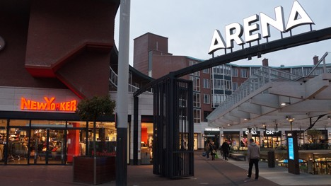 Arena entrance by night
